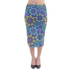 Color Variationssparkles Pattern Floral Flower Purple Midi Pencil Skirt