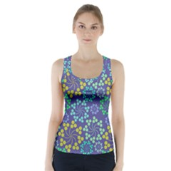 Color Variationssparkles Pattern Floral Flower Purple Racer Back Sports Top