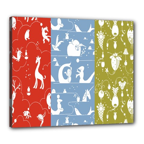 Deer Animals Swan Sheep Dog Whale Animals Flower Canvas 24  x 20