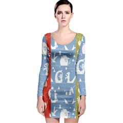 Deer Animals Swan Sheep Dog Whale Animals Flower Long Sleeve Bodycon Dress