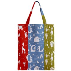 Deer Animals Swan Sheep Dog Whale Animals Flower Zipper Classic Tote Bag