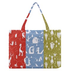 Deer Animals Swan Sheep Dog Whale Animals Flower Medium Zipper Tote Bag