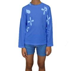 Flower Floral Blue Kids  Long Sleeve Swimwear