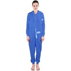 Flower Floral Blue Hooded Jumpsuit (Ladies)