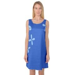 Flower Floral Blue Sleeveless Satin Nightdress