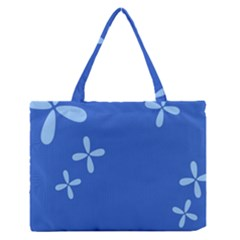 Flower Floral Blue Medium Zipper Tote Bag