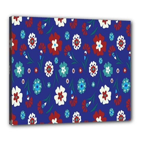 Flower Floral Flowering Leaf Blue Red Green Canvas 24  x 20