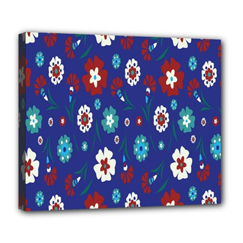 Flower Floral Flowering Leaf Blue Red Green Deluxe Canvas 24  x 20