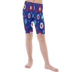 Flower Floral Flowering Leaf Blue Red Green Kids  Mid Length Swim Shorts