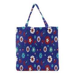 Flower Floral Flowering Leaf Blue Red Green Grocery Tote Bag