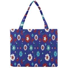 Flower Floral Flowering Leaf Blue Red Green Mini Tote Bag