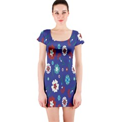 Flower Floral Flowering Leaf Blue Red Green Short Sleeve Bodycon Dress