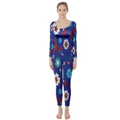 Flower Floral Flowering Leaf Blue Red Green Long Sleeve Catsuit