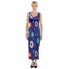 Flower Floral Flowering Leaf Blue Red Green Fitted Maxi Dress