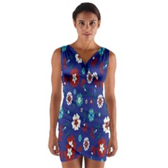 Flower Floral Flowering Leaf Blue Red Green Wrap Front Bodycon Dress