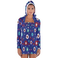 Flower Floral Flowering Leaf Blue Red Green Women s Long Sleeve Hooded T-shirt
