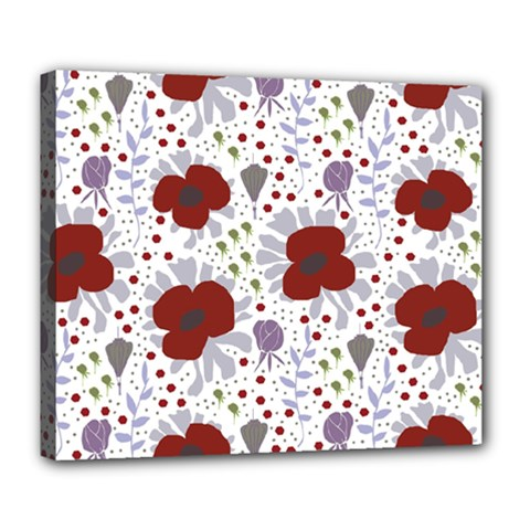 Flower Floral Rose Leaf Red Purple Deluxe Canvas 24  x 20