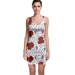 Flower Floral Rose Leaf Red Purple Sleeveless Bodycon Dress
