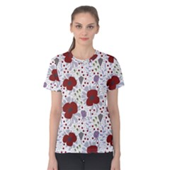 Flower Floral Rose Leaf Red Purple Women s Cotton Tee