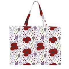 Flower Floral Rose Leaf Red Purple Large Tote Bag