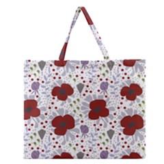 Flower Floral Rose Leaf Red Purple Zipper Large Tote Bag