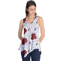 Flower Floral Rose Leaf Red Purple Sleeveless Tunic