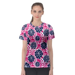 Flower Floral Rose Purple Pink Leaf Women s Sport Mesh Tee