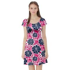 Flower Floral Rose Purple Pink Leaf Short Sleeve Skater Dress