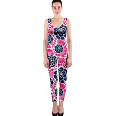 Flower Floral Rose Purple Pink Leaf OnePiece Catsuit