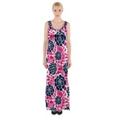 Flower Floral Rose Purple Pink Leaf Maxi Thigh Split Dress