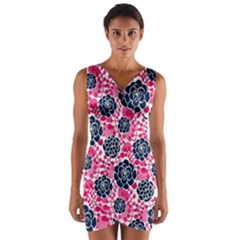 Flower Floral Rose Purple Pink Leaf Wrap Front Bodycon Dress