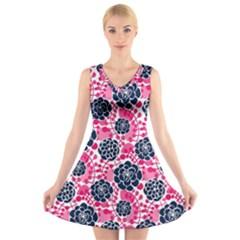 Flower Floral Rose Purple Pink Leaf V-Neck Sleeveless Skater Dress