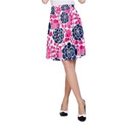 Flower Floral Rose Purple Pink Leaf A-Line Skirt