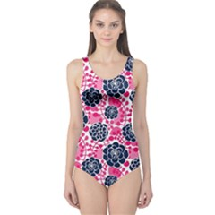 Flower Floral Rose Purple Pink Leaf One Piece Swimsuit