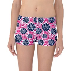 Flower Floral Rose Purple Pink Leaf Reversible Bikini Bottoms