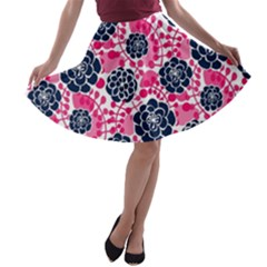 Flower Floral Rose Purple Pink Leaf A-line Skater Skirt