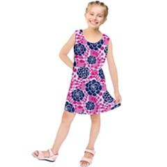 Flower Floral Rose Purple Pink Leaf Kids  Tunic Dress