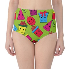 Happy Birthday Background High-Waist Bikini Bottoms