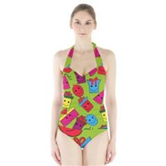 Happy Birthday Background Halter Swimsuit