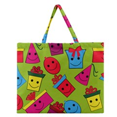 Happy Birthday Background Zipper Large Tote Bag