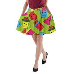 Happy Birthday Background A-Line Pocket Skirt