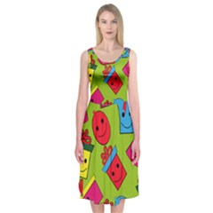 Happy Birthday Background Midi Sleeveless Dress