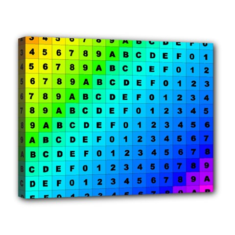 Letters Numbers Color Green Pink Purple Canvas 14  x 11