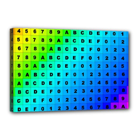 Letters Numbers Color Green Pink Purple Canvas 18  x 12