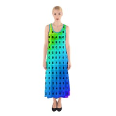Letters Numbers Color Green Pink Purple Sleeveless Maxi Dress