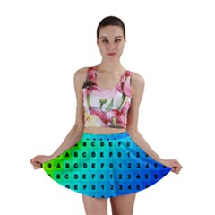Letters Numbers Color Green Pink Purple Mini Skirt