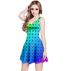 Letters Numbers Color Green Pink Purple Reversible Sleeveless Dress