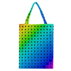 Letters Numbers Color Green Pink Purple Classic Tote Bag