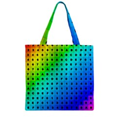 Letters Numbers Color Green Pink Purple Zipper Grocery Tote Bag