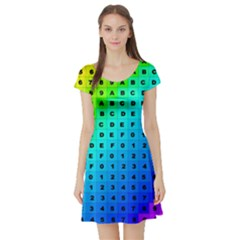 Letters Numbers Color Green Pink Purple Short Sleeve Skater Dress